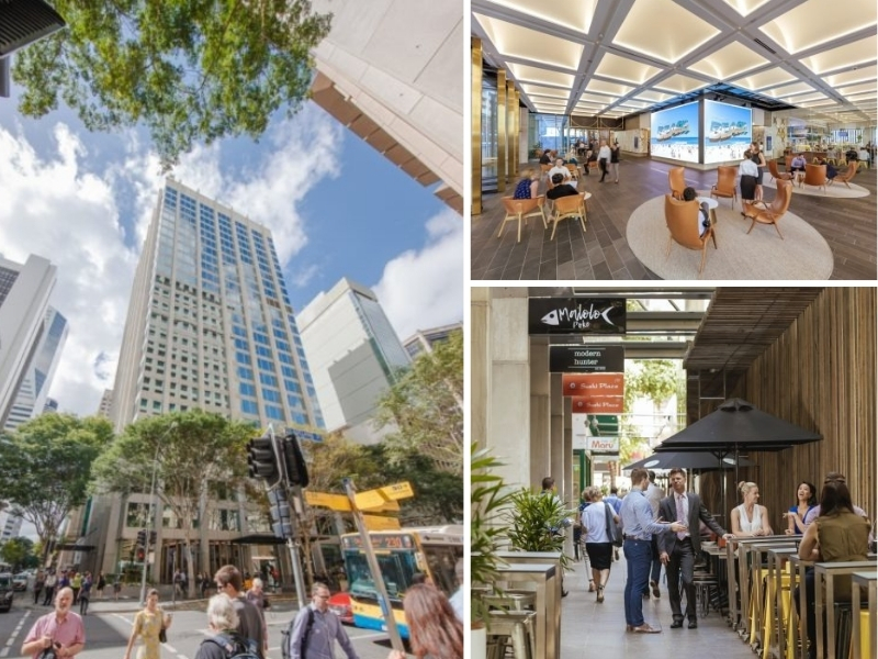 A composite image of 100 Creek Street, Brisbane. The 24-storey office building has a renovated open plan lobby and a French provincial laneway down the side.