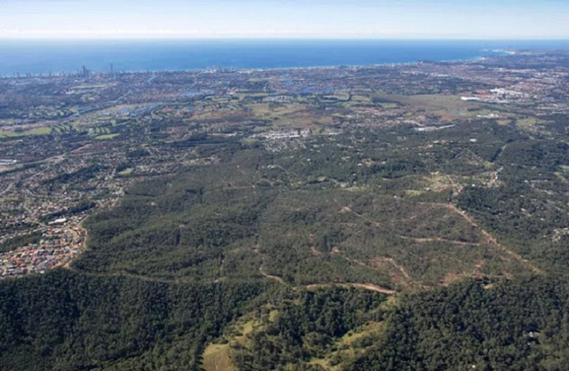 An aerial image of bushland on the Gold Coast which will soon be turned into a residential development.