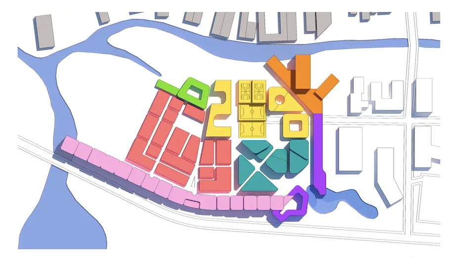 Masterplan of mix of facilities including high-care aged-care residences in new precinct. © Psychological Design, Sydney, 2018, Author provided (No reuse)