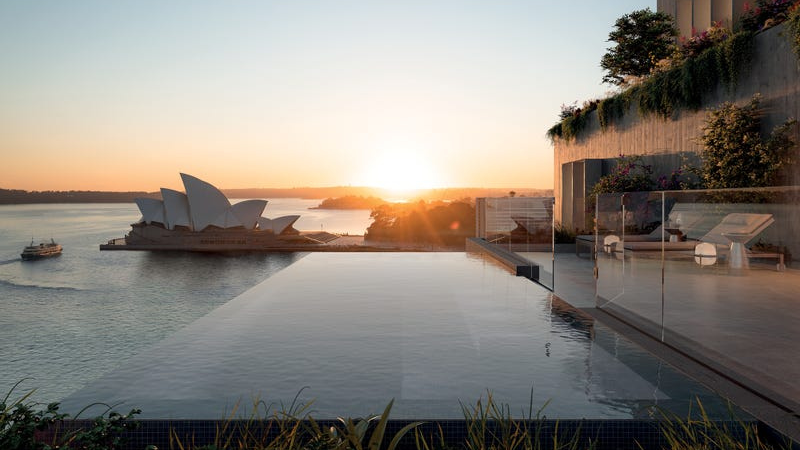 ▲ Infinity pools with views to the Sydney Opera House and the harbour will transform the Sirius building into luxury residences. Image: BVN