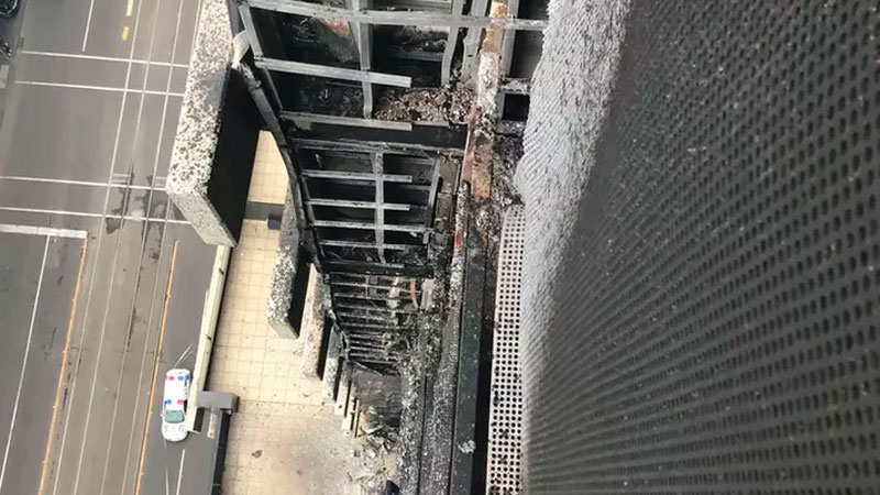 ▲ The issue of combustible cladding came back into the national spotlight this month, after fire spread up the side of a Melbourne apartment building. Image: Metropolitan Fire Brigade