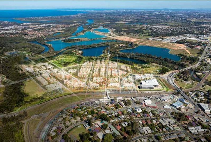 Aerial image depicting a future mid rise mixed use precinct located between a train station and waterway in Moreton Bay.