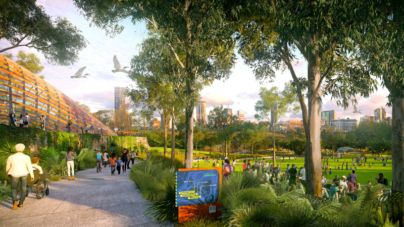 ▲ Newly unveiled artist's impressions of the reimagined Victoria Park show a tree canopy walk and pedestrian connections. Image: Brisbane City Council