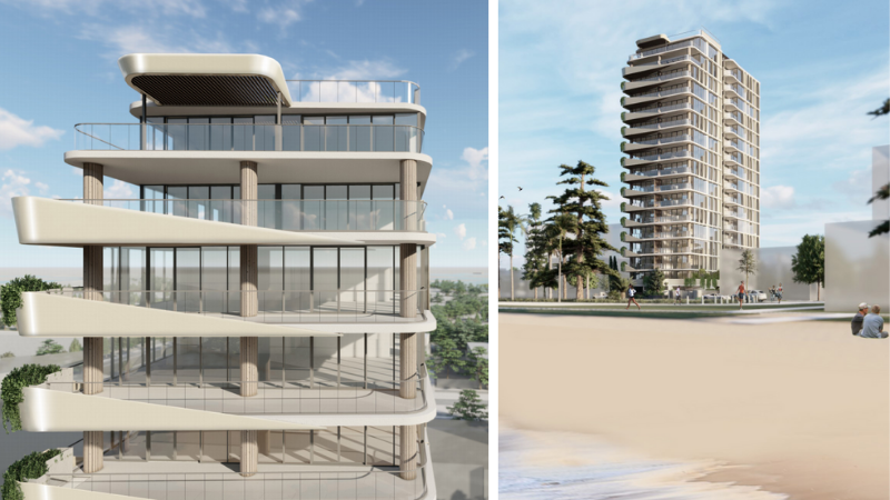 ▲ A private rooftop terrace caps off the penthouse, while communal space and a pool deck are on the ground floor.