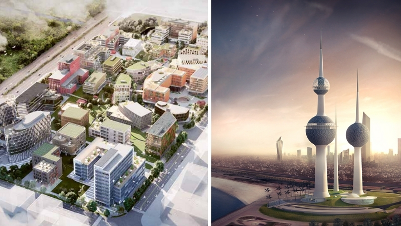 ▲ Among Sweco's projects are a colourful office park in China and the reinvigoration of Kuwait Tower.