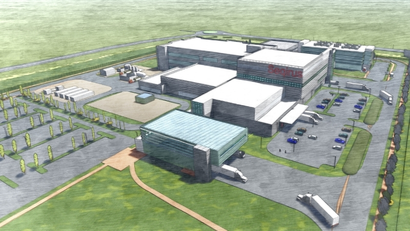 An artist's impression of several industrial buildings to be built near the Melbourne Tullamarine Airport to manufacture vaccines and antivenoms.