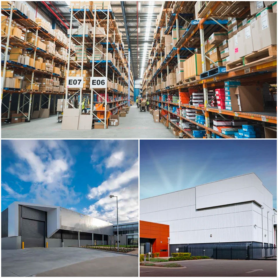 The Best & Less-occupied warehouse at 1 Eucalyptus Place (top), the Laverton North facility (bottom left), Charter Hall's pair of warehouses at South Guildford (bottom right).