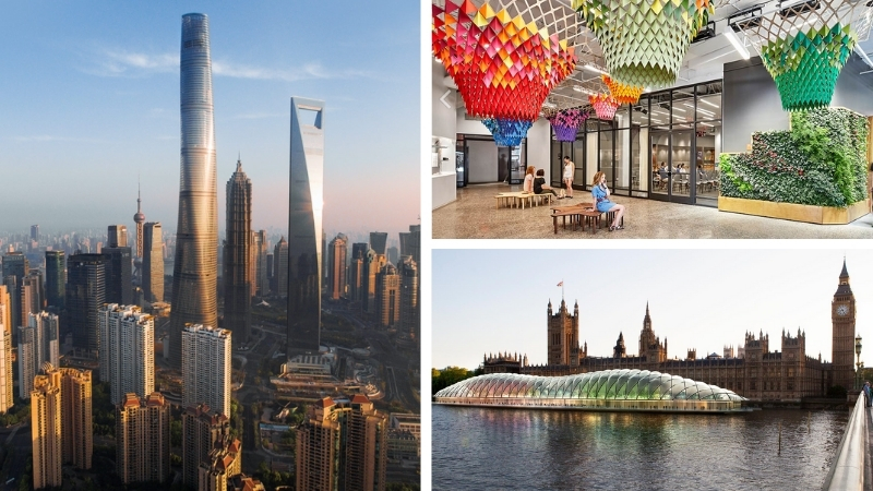 ▲ The 632m Shanghai Tower, the interior of Etsy headquarters in Brooklyn, New York and a proposed temporary UK parliament are among Gensler's featured projects.