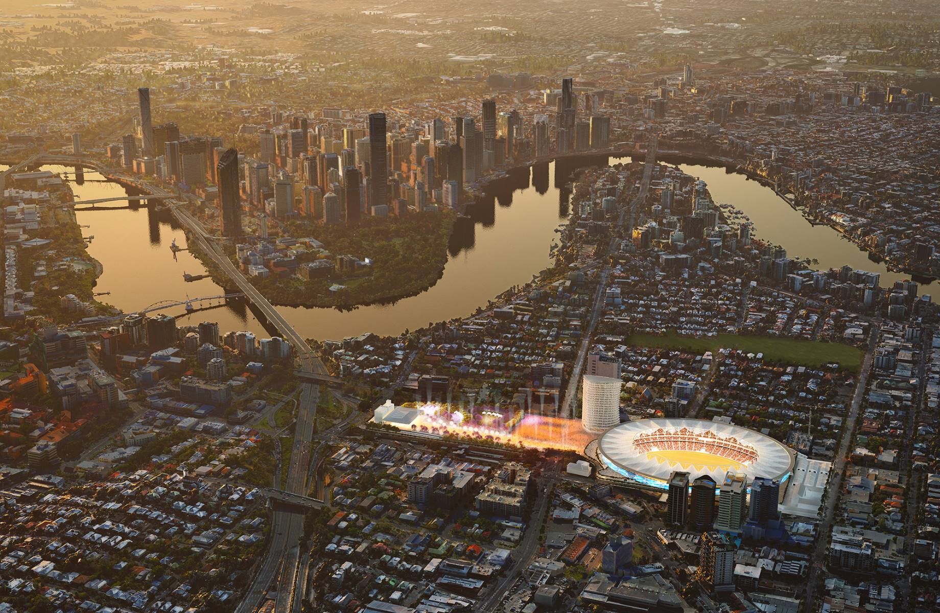 ▲ The Gabba will receive a $1bn facelift to boost its capacity and build a pedestrian precinct connecting to the Cross River Rail as part of the Olympic Games infrastructure projects.