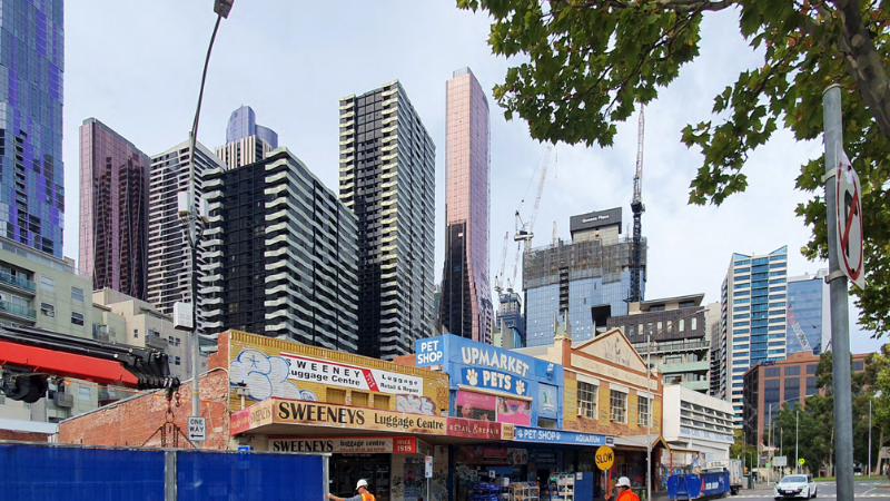 The development of a 21-storey residential tower on Parcel B in the Queen Victoria Markets precinct would require the demolition of some buildings on the site. Image: Bates Smart