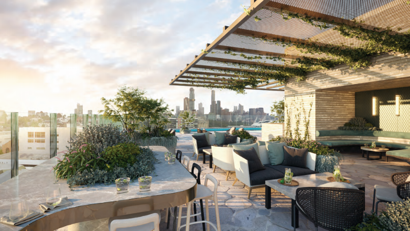 ▲ A newly-approved 12-storey hotel at 587-593 Church Street, Richmond will include publicly-accessible rooftop bars and an infinity pool. Image: Goldfields Group