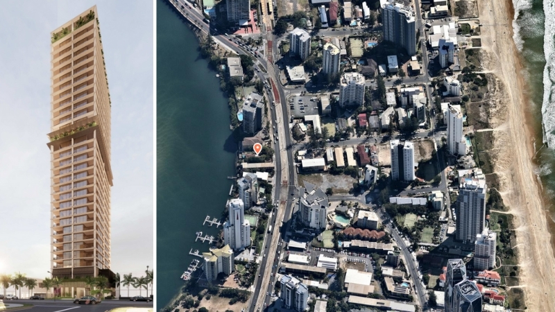 A 31 storey tower with a subtropical design and an aerial image of its location next to the Nerang River and Gold Coast Highway in Surfers Paradise.