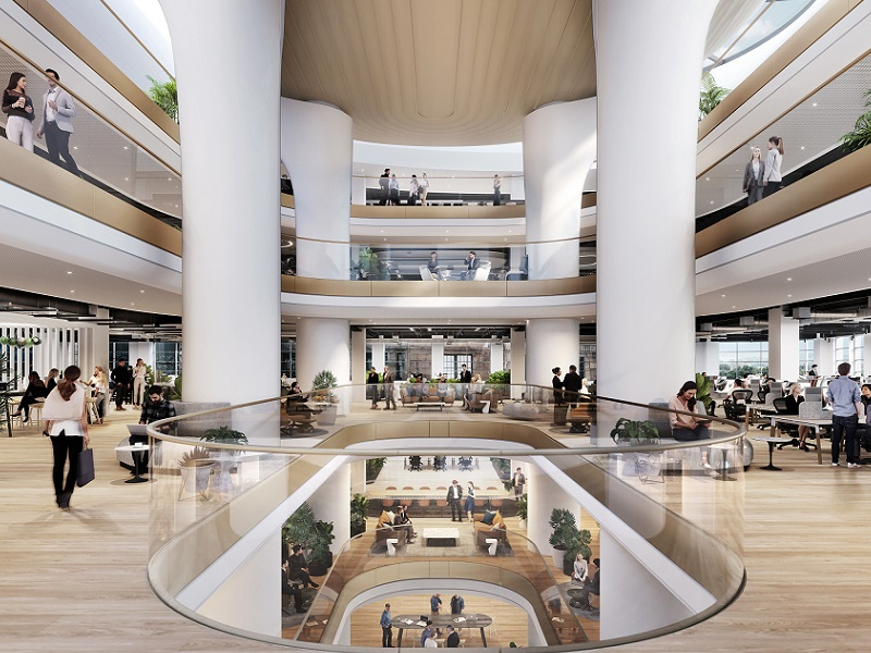 The commercial and retail space is connected by a vertical column inside the 121 Castlereagh building.