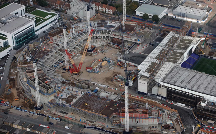 An aerial shot of North London showed the new stadium taking shape around the old White Hart Lane.