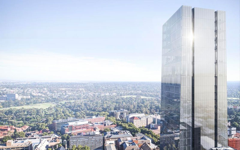 The Freemasons are considering a stunning plan to build Adelaide's tallest tower behind one of North Terrace's grandest heritage buildings.