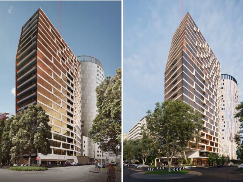 The 2018 approved plans for a white and gold tower and new plans with four additional storeys for the Coventry Street site next to Kings Domain