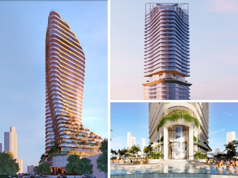 Three images of the tower forms to be included in the La Pelago site by Gurner in Surfers Paradise with a curved tower with landscaping down the side, the top of a tower with a landscaped common area mid way and some of the pools in the development.