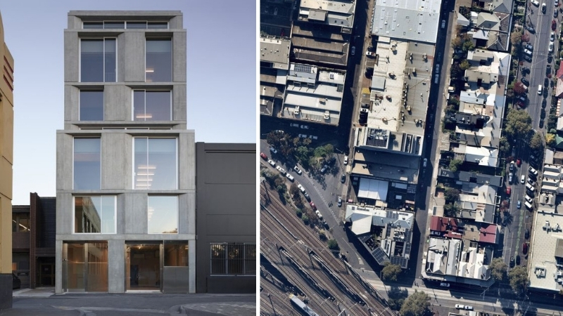 A seven-storey concrete office building in Richmond and an aerial image of the site near the train station and Punt Road.