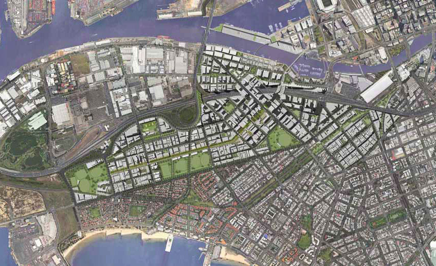 The precinct will still comprise apartment towers with several blocks near the West Gate Freeway pegged for high-rise development.
