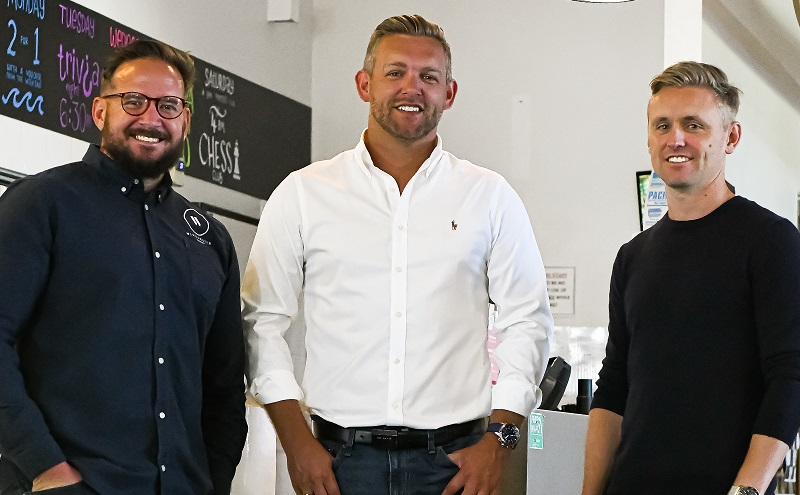 New and old owners of The Sun Hotel in Byron Bay - Winchestor Group's Jedd Rifai and Shaun Dunleavy and KTQ Group's Jeremy Holmes.