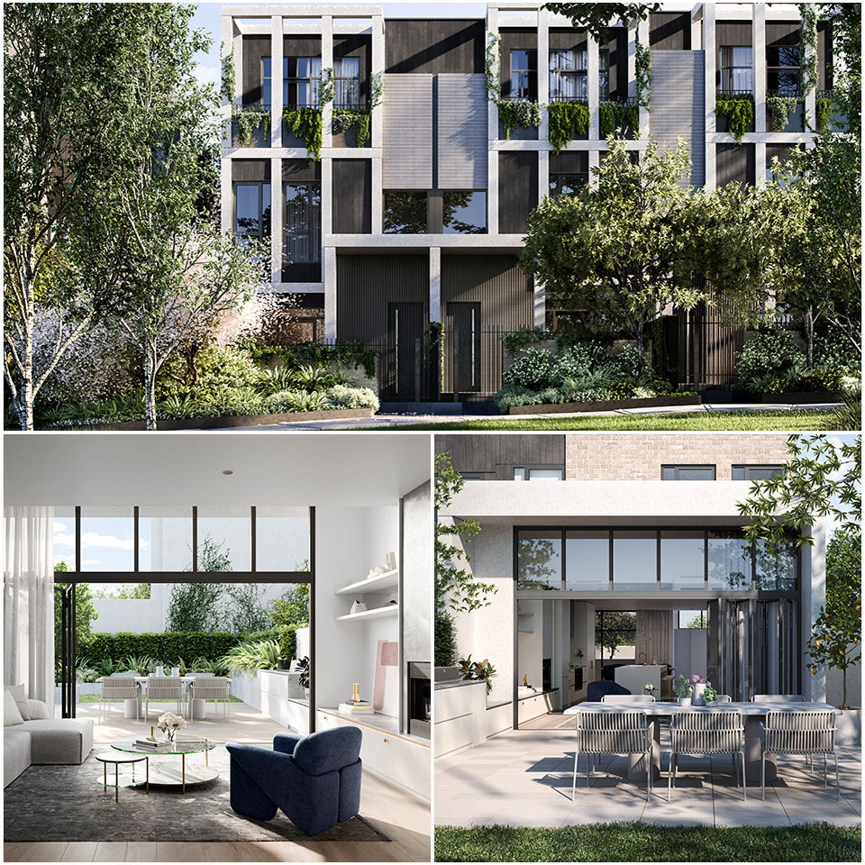▲ The heritage-inspired design of the first-stage homes and terraces by Rothelowman evokes the established Victorian terrace homes of Moonee Ponds.