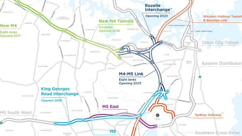 ▲Construction of WestConnex is $16.8 billion with the final section due to open in late 2023. Image: WestConnex