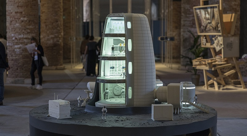 An individual habitat module from Moon Village demonstrates a open plan four-storey capsule that could house people in space.