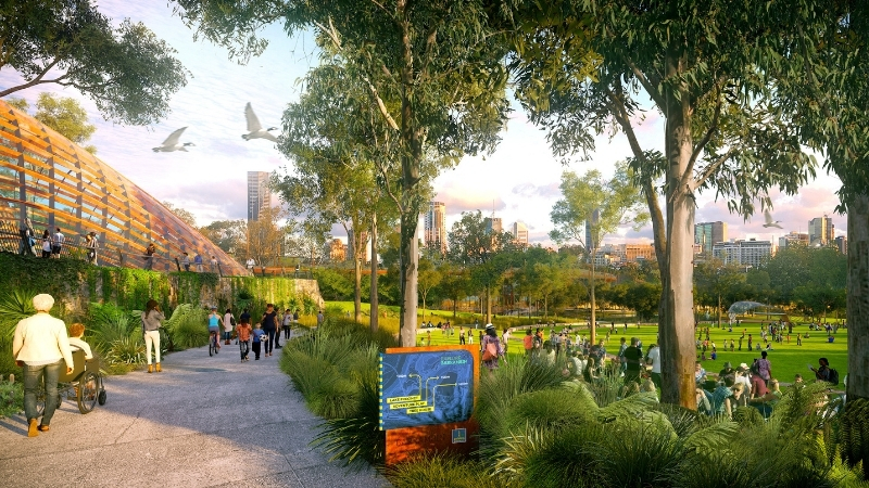 An artist impression of the future Victoria Park area which will have pathways, open space and activities for the public.