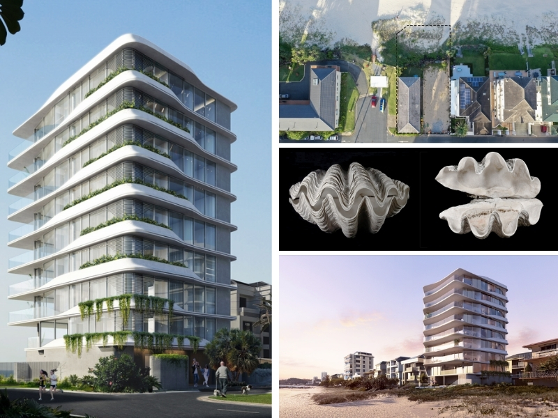 A composite image of a nine-storey apartment tower to be built on the Gold Coast, the block, the clam inspiration and the tower at dawn.