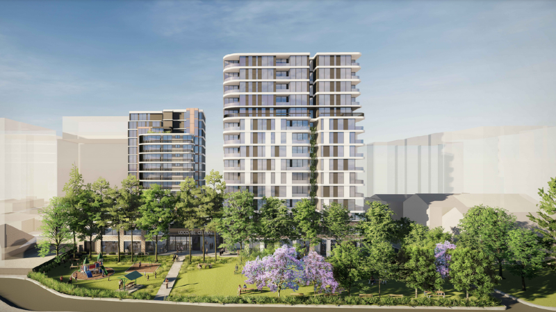 ▲An artist's impression of the Lidcombe Central development and park extension at 4-12 Railway St, Lidcombe. Image: Loucas Architects