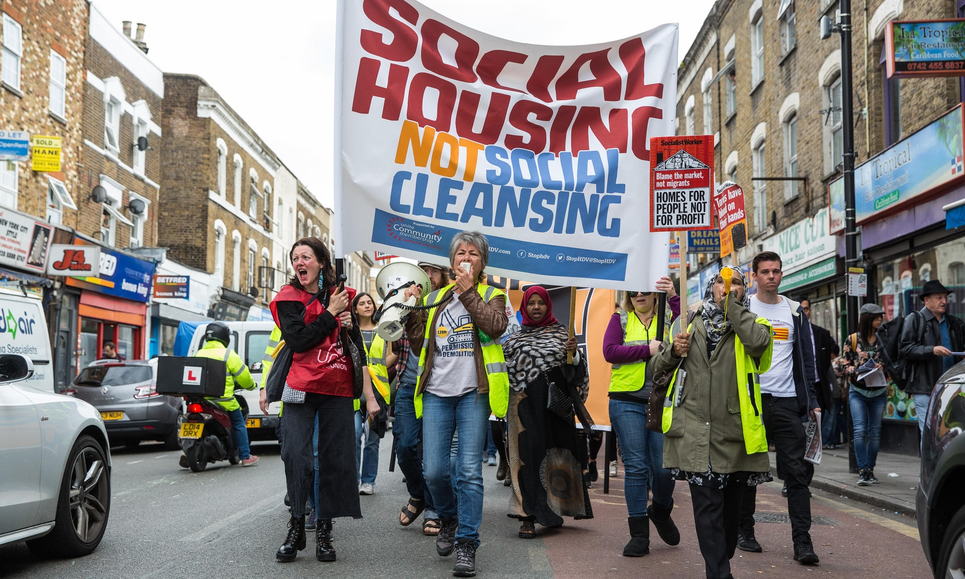 Protestors of the HDV march from Seven Sisters to Finsbury Park in Haringey.
