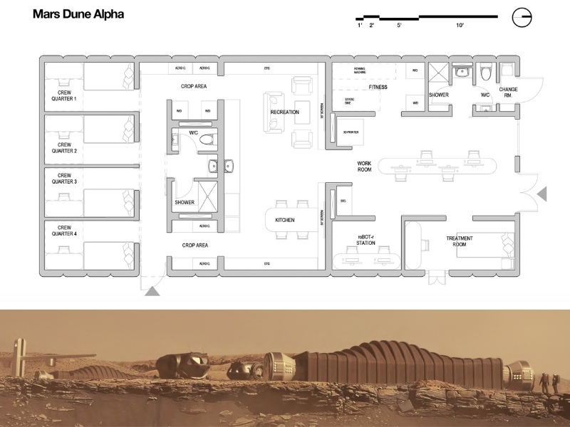 The floorplan of a Mars habitat with four bedrooms, a gym, work station, and common area along with a render of the single storey structure.