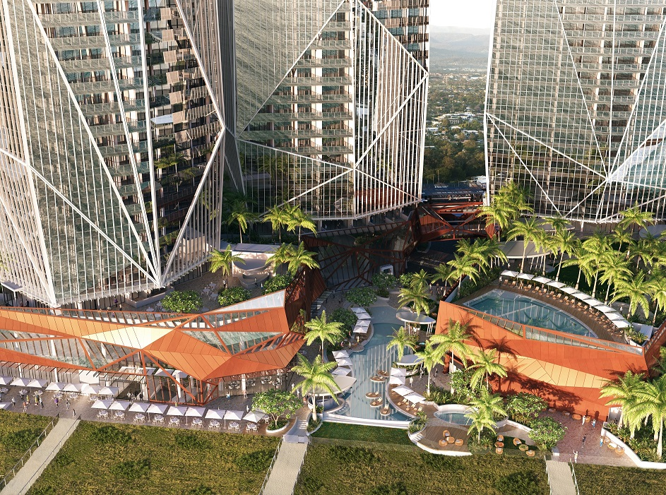 Jewel will feature outdoor dining and seating and lounge areas with lush pool side gardens provided.