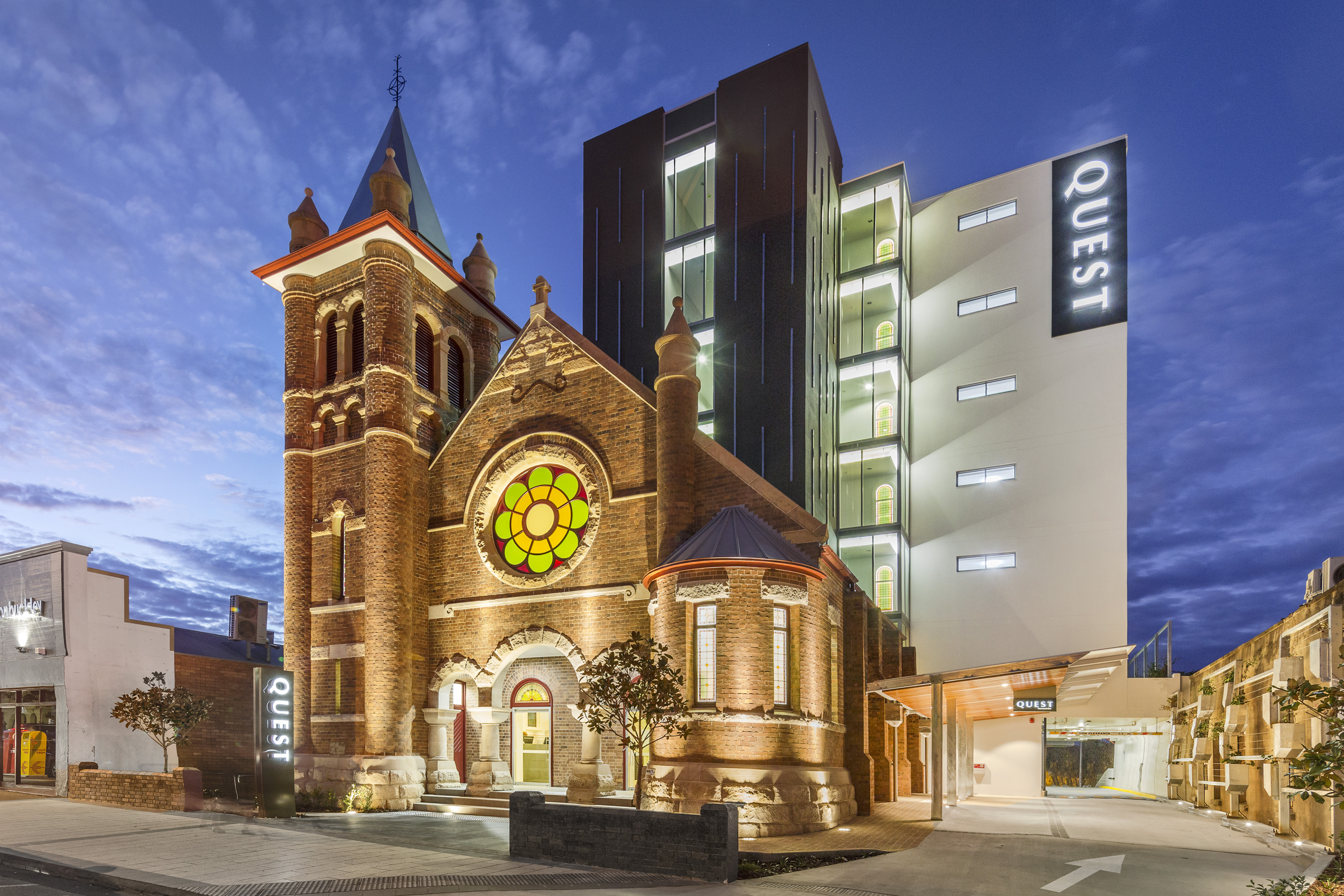 Quest Apartment Hotels in Toowoomba is a former church building recently reopened after $5 million worth of restoration works. Building owner FKG commenced restoration works after the fire in June.