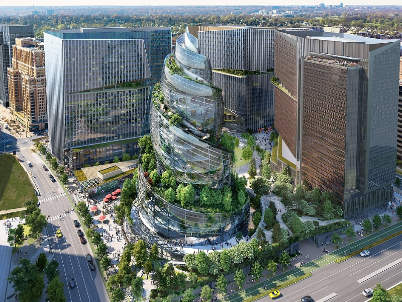 Mid image 800x600 Amazon's helix building looks like a glass seashell with trees planted around the spiral in the middle of Arlington city.