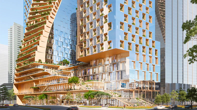 ▲ The new towers will be located on the site of the BMW showroom on City Road and Southbank Boulevard. Image: UNStudio & Cox Architecture.