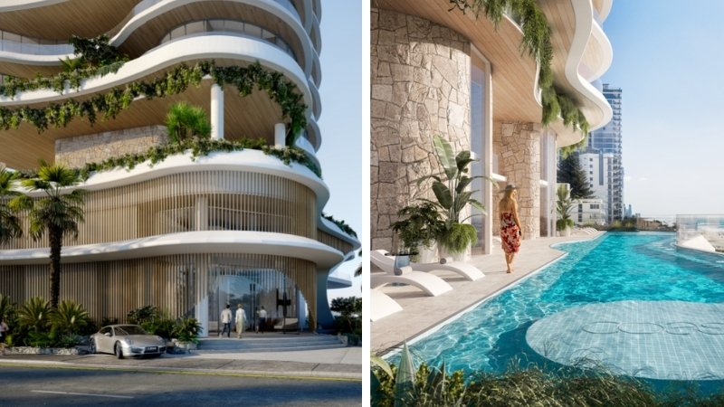 The entrance of a subtropical luxury tower and the swimming pool at Coast overlooking Surfers Paradise beach.