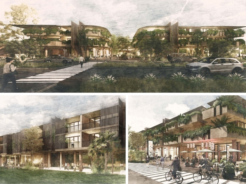 Plans for Byron Plaza include a leafy, three storey-building with apartments on the upper floors and restaurants on the ground floor.