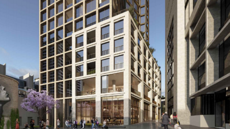 Plans for a 21-storey 129-apartment tower have been lodged with the City of Melbourne Council. Image: Bates Smart