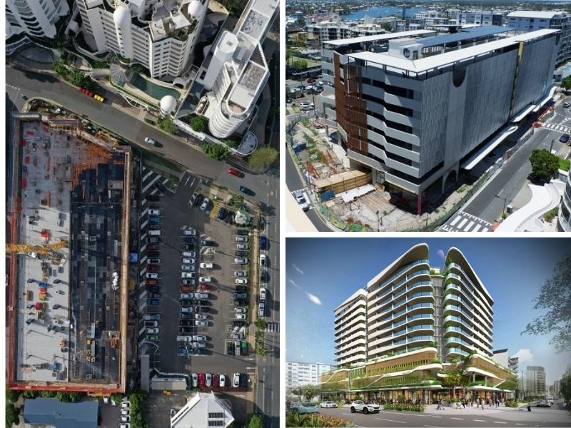 Three images depicting he carpark was split into two sites, an eight-storey carpark and the the proposed hotel development in Mooloolaba.