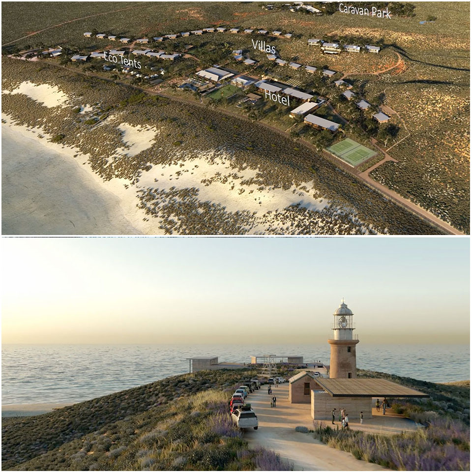 ▲Plans for the Ningaloo Lighthouse Project. (B) A viewing deck is planned at the Vlamingh Head Lighthouse. Image: Tattarang