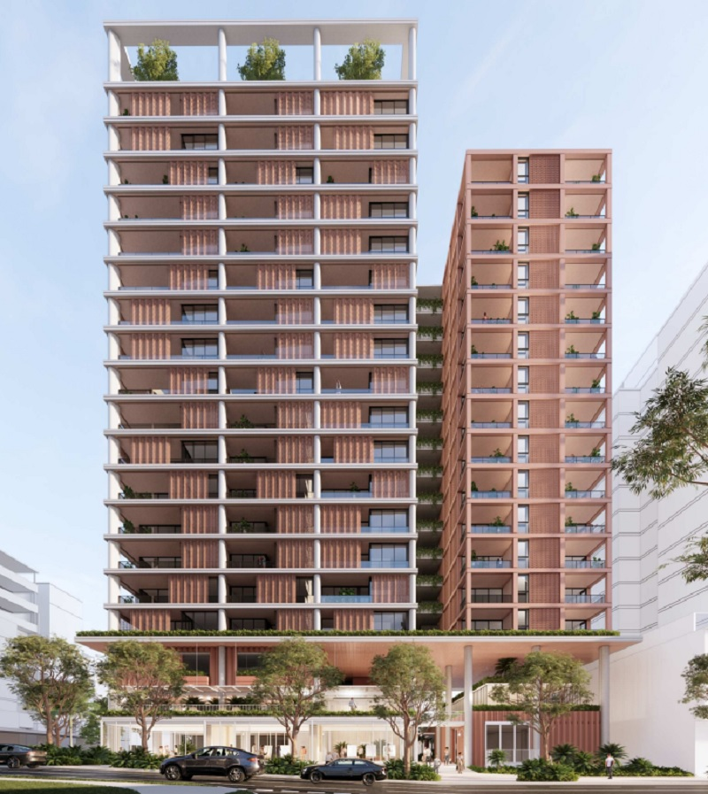 An peach coloured tower 18 storeys high with a rooftop garden and two level podium to be built near The Gabba.