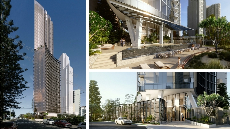 A composite of three images showing a shiny tower, open space and entrance to a building in Surfers Paradise.