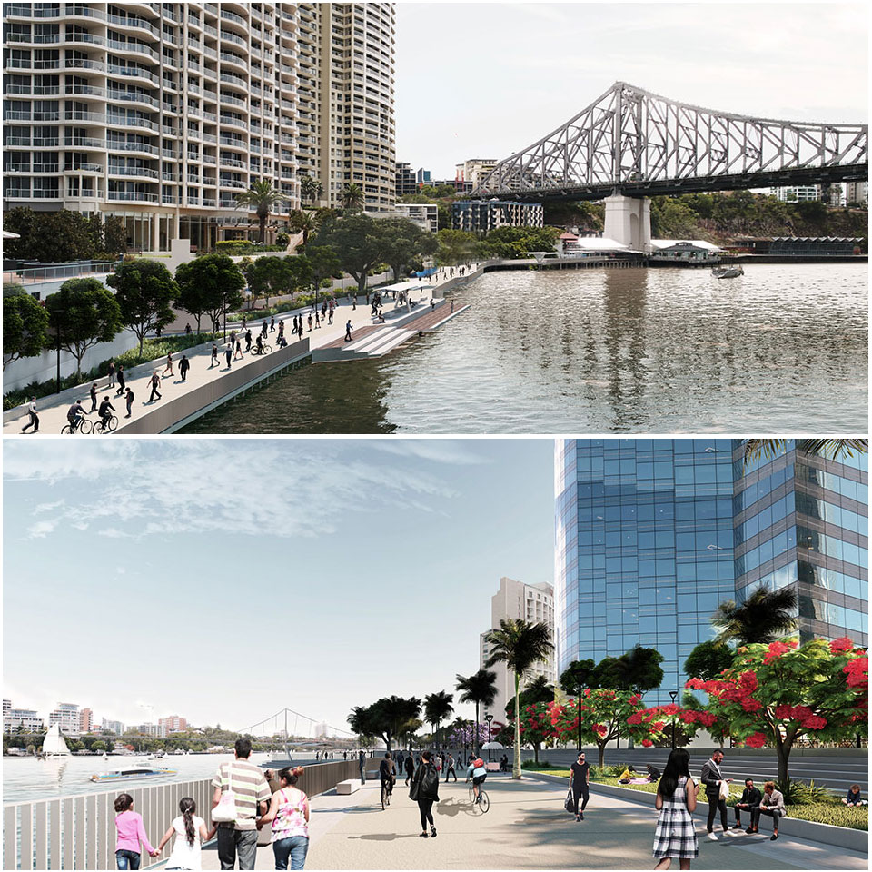 ▲ The Brisbane City Council will launch its draft master plan for the 1.2 kilometre of river frontage spanning from the City Botanic Gardens to Howard Smith Wharves.