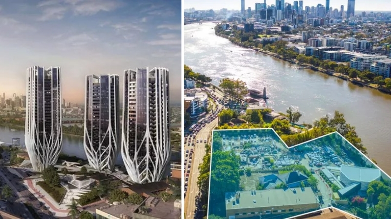 Two images side by side, one of proposed towers for a site in Toowong, the site as it currently sits with low-rise buildings alongside the Brisbane River.