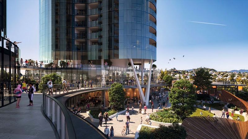 ▲ Stage one will feature a new food and beverage destination, health and wellbeing offerings, and two new multi-level residential buildings over a commercial and retail podium. Image: Hames Sharley