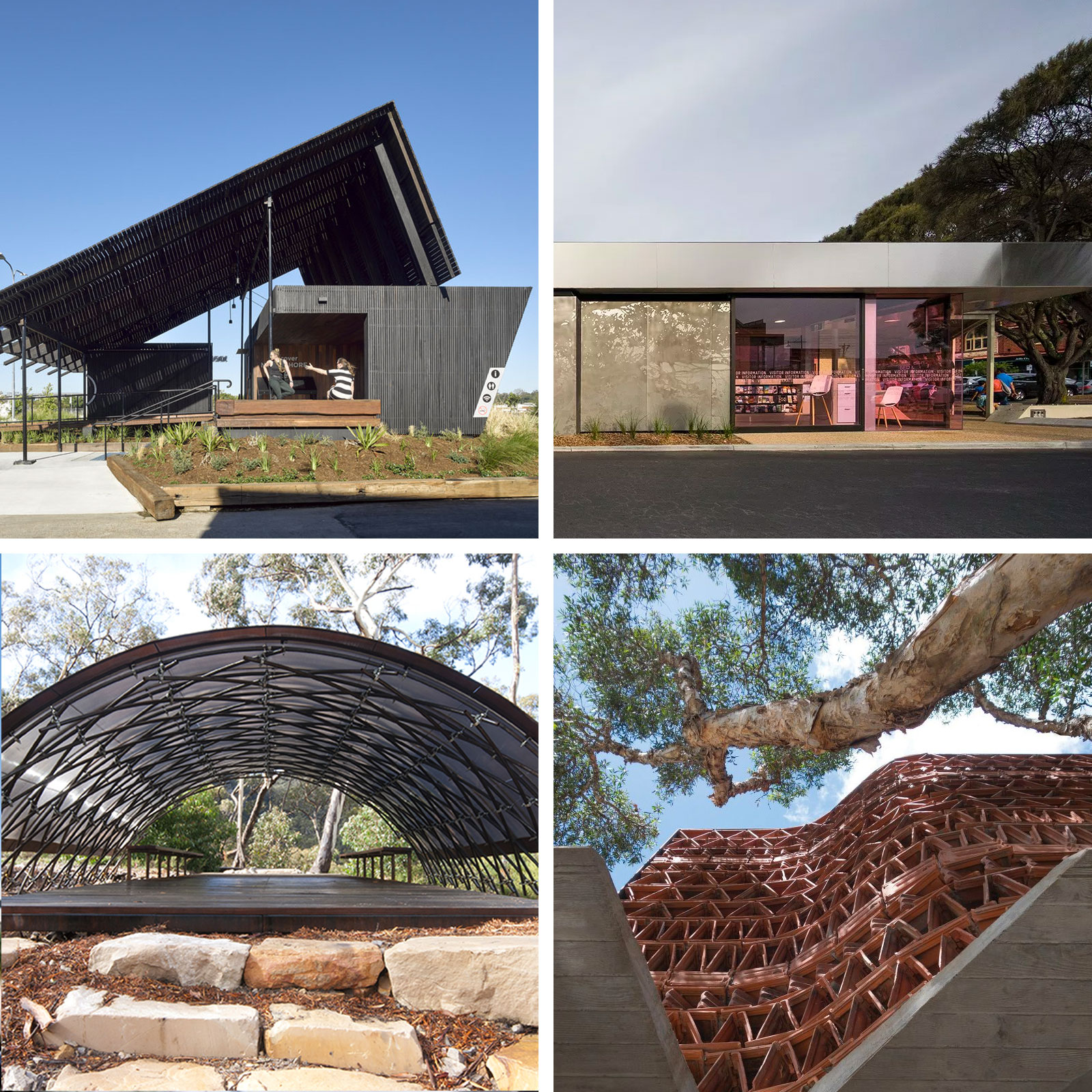 Northshore Pavilion (top left), Sorrento Visitor Centre (top right), Bugiga Hiker Camp (bottom left) and The Beehive (bottom right).