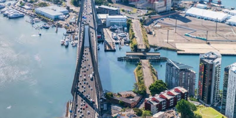 ▲ The strategy allows for a potential footbridge connecting Rozelle to Glebe Point Road. Image: Anzac bridge on the left and Glebe Island bridge on the right, Draft Bays West Place Strategy.