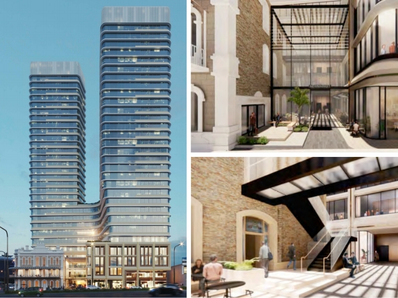 The overall building design shows two 32 storey towers next to the 1880s Newmarket Hotel in Adelaide linked by a glass atrium with modern finishes.