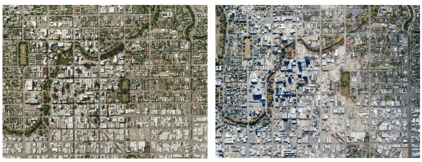 Pictured left: An aerial view of Christchurch in 2009 pre the major earthquakes. Right: After the 2010 and 2011 natural disasters.
